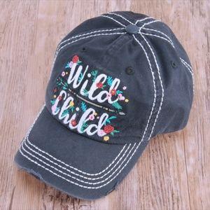 Other - Black Distressed 'Wild Child' Cap